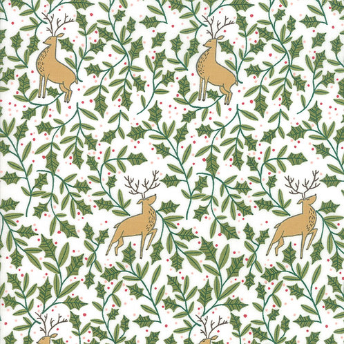 Reindeer & Holly on Snowflake | To Be Jolly Collection | Moda Fabrics