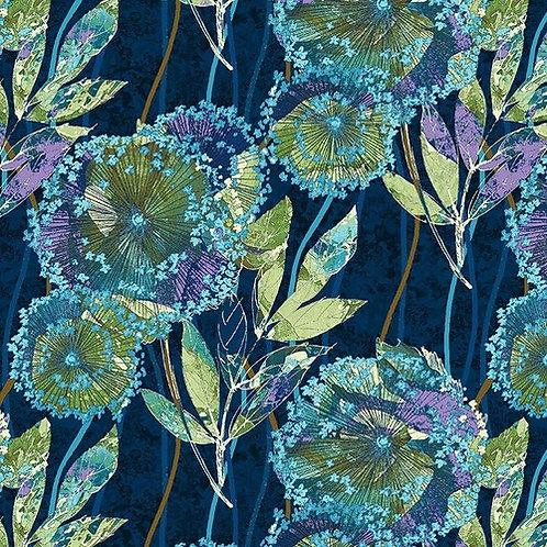 Dandelion in Midnight   Feather & Flora   Studio E Fabrics