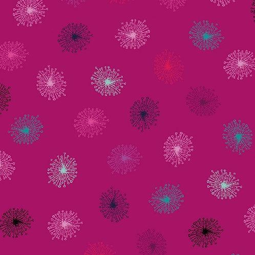 Dandelions - Magenta | Roadside Flowers | STOF Fabrics