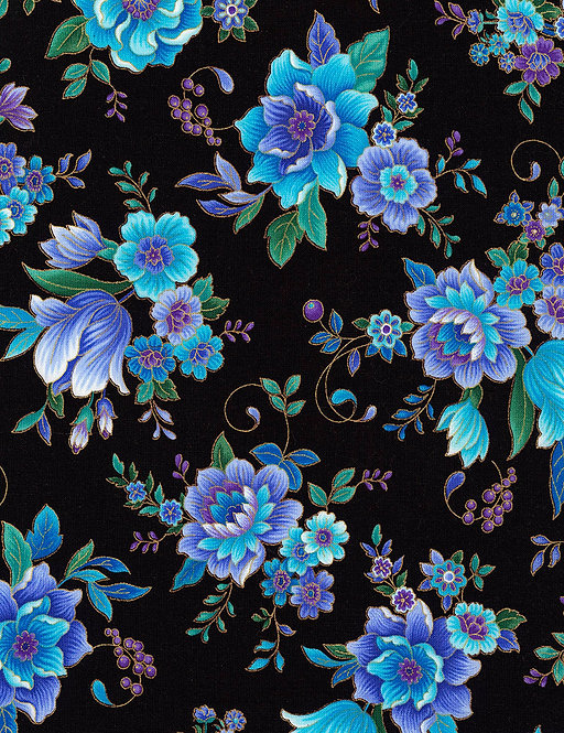 Majestic Flowers onBlack | Regency Collection | Timeless Treasures