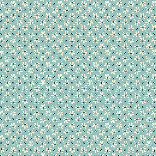 Flowers and Beans Teal | Annabella Collection | Andover Fabrics