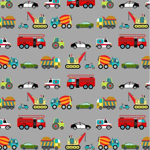 Vehicles on Grey | Around Town Collection  | Nutex Fabrics