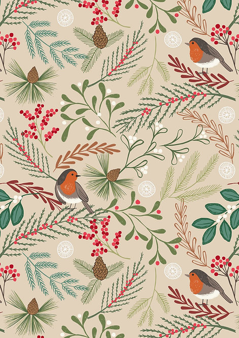 Robins on Dark Cream  | New Forest Winter Collection | Lewis and Irene