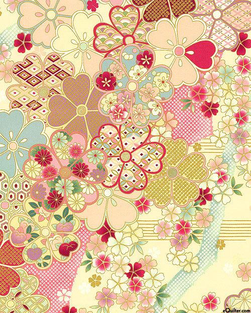 Big Blossoms - Cream/Gold | Hana Zukishi | Quilt Gate Fabrics