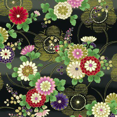 Plums & Mums - Black/Gold | Hana Zukishi | Quilt Gate Fabrics