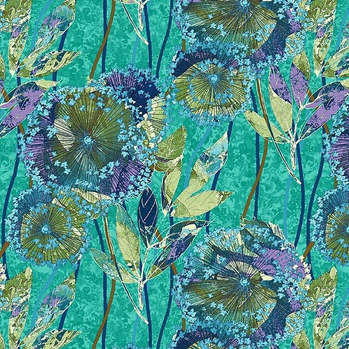 Dandelion in Lt Spruce | Feather & Flora | Studio E Fabrics