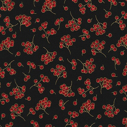 Berries on Black | Holiday Flourish Collection | Robert Kaufman