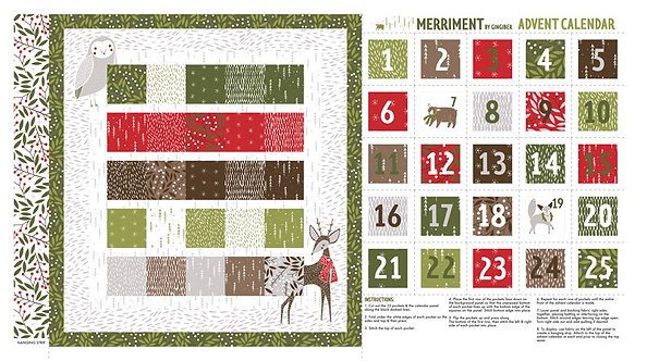 Advent Calendar Quilt Panel | Merriment Collection | Moda Fabrics​​​​