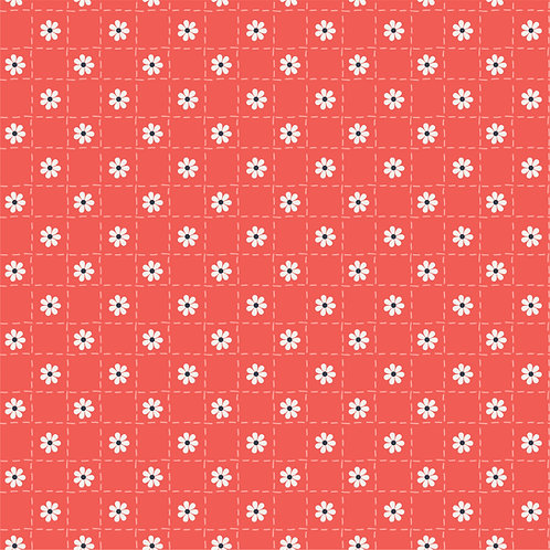 Quilted Flowers on Red | Hand Picked Collection | Sweet Bee Designs