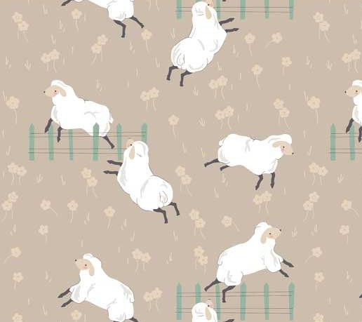 Jumping Sheep on Beige | Sheepy Friends | Stof Fabrics