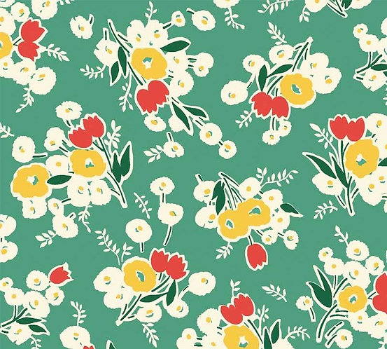 Green/Multi Large Flowers | Washington Street Vintage 30's Florals | P&B Textile