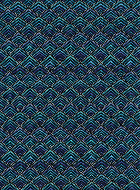 Plume Diamonds Black/Blue Fabric | Timeless Treasures