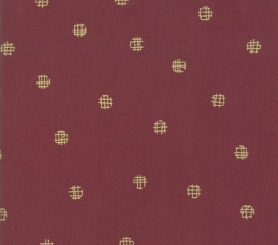 Cross My Dots Merlot Metallic | Just Red Collection by Zen Chic | Moda Fabrics