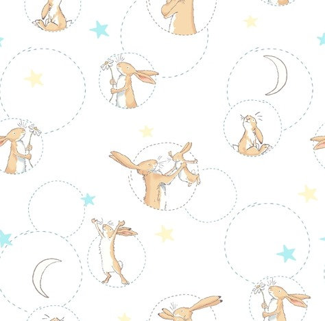 Nut Brown Hares on White | 'Guess How Much I Love You' | Clothworks