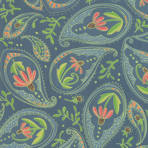 Coneflower on Teal| Painted Meadow Collection | Moda Fabrics