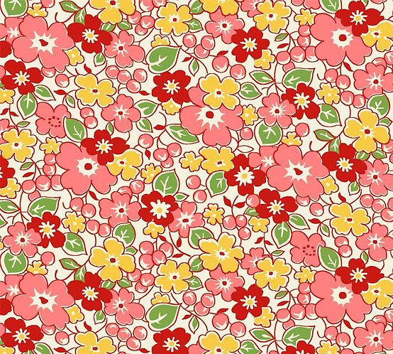 Red & Yellow Flowers | Washington Street Vintage 30's Florals | P&B Textile