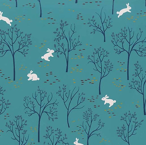 Bunny Trail in Stream | Into The Woods Collection | Michael Miller Fabrics