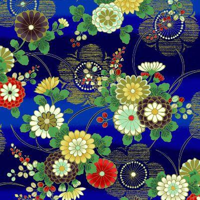 Plums & Mums - Blue/Gold | Hana Zukishi | Quilt Gate Fabrics