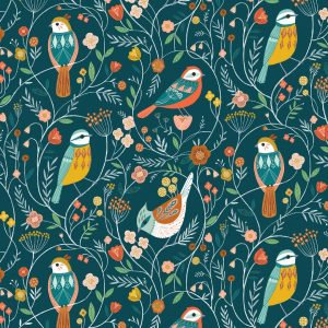 Woodland Birds on Dark Teal | Aviary Collection | Dashwood Studio