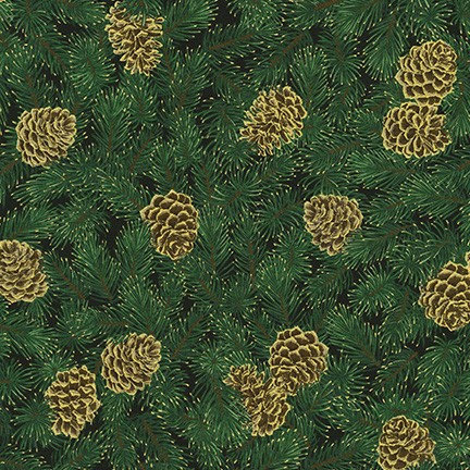 Pine Cones on Black | Holiday Flourish Collection | Robert Kaufman
