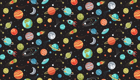 Planets on Black | Space Collection | Makower UK