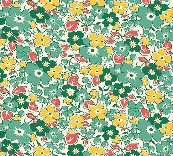 Green & Yellow Flowers | Washington Street Vintage 30's Florals | P&B Textile
