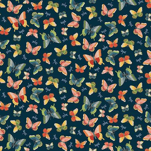 Butterflies on Blue | Michiko | Makower UK