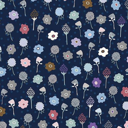 Flowers on Navy | Flower & Dot Collection | STOF Fabrics