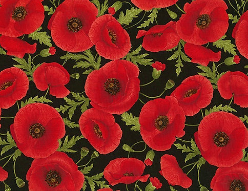 Packed Poppies on Black | Timeless Treasures | Timeless Treasures