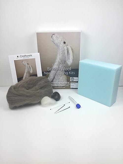 Grey Hare Needle felting kit |  British Wool Collection | Craftwerk