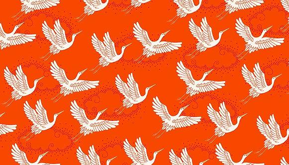 Cranes on Orange | Kimono Collection | Makower UK