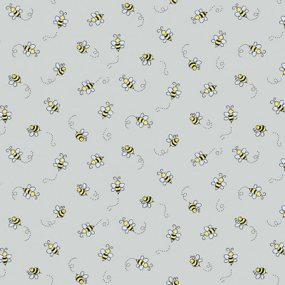Bees on Grey | Bumble Bee Collection | Andover Fabrics
