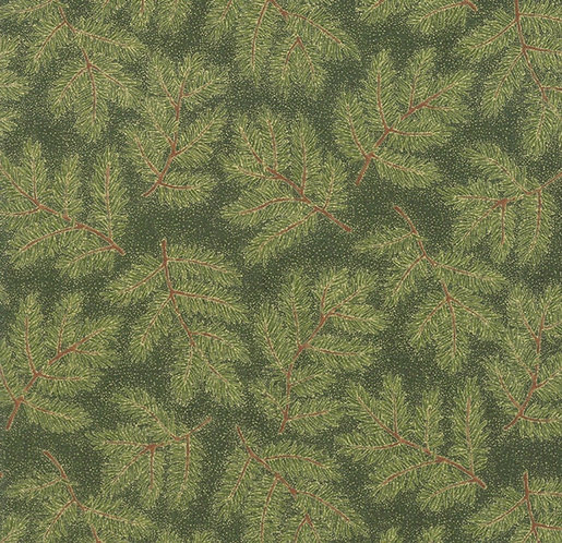 Pine Branches in Evergreen  | Cardinal Song Metallic Collection | Moda Fabrics