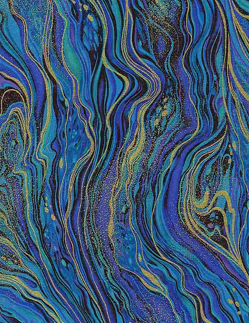 Peacock Abstract Marbling | Royal Plume Collection | Timeless Treasures