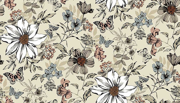 Exotic Flower on Cream | Dream Collection | Makower UK