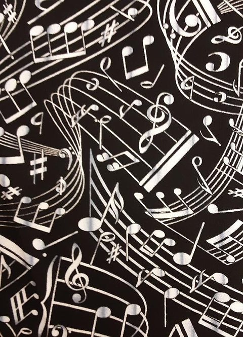 Music swirl on Black   Misc Collection   Timeless Treasures