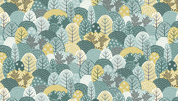 Trees on Blue | Clara's Garden Collection | Makower UK