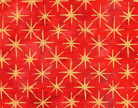 Metallic Grunge Seeing Stars in Cherry | BasicGrey | Moda Fabrics