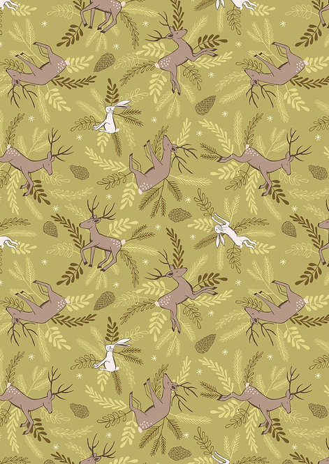 Deer and Hare on Forest Green | New Forest Winter Collection | Lewis and Irene