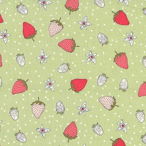 Fraises in Green Tea | Strawberry Tea Collection | Michael Miller Fabrics