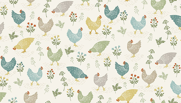 Chickens on Cream | Clara's Garden Collection | Makower UK