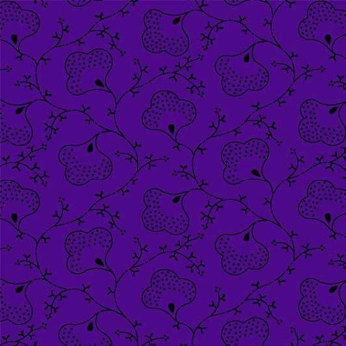Scroll Flowers in Purple | Bear Essentials 4 | P&B Textiles