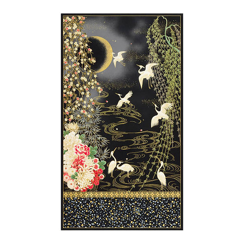Cranes on Onyx | Imperial Collection 16 | Robert Kaufman