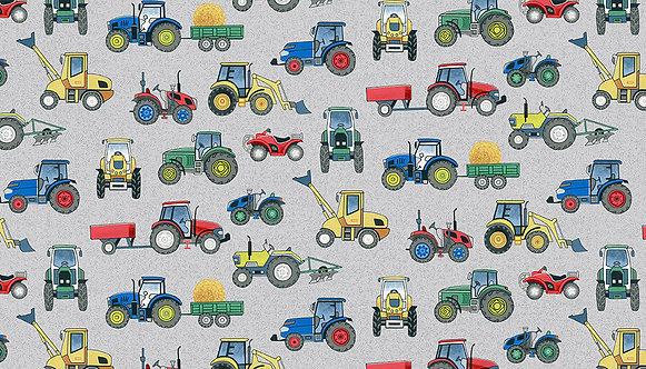 Tractors on Grey | Village Life Collection | Makower UK