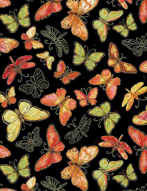 Butterflies on Black | Felicity Collection | Timeless Treasures
