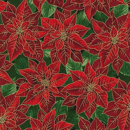 Ponsettia on Pine | Holiday Flourish Collection | Robert Kaufman