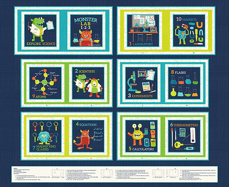 E-Monster Lab Book Panel | Monster Lab Collection | Studio E Fabrics