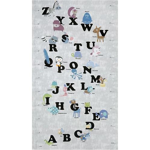 Zoo Around Alphabet Panel in Dusty | Zoo Around | STOF Fabric