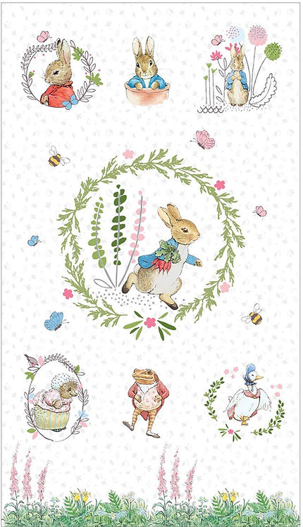 Peter Rabbit Panel on White  | Peter Rabbit | The Craft Cotton Co