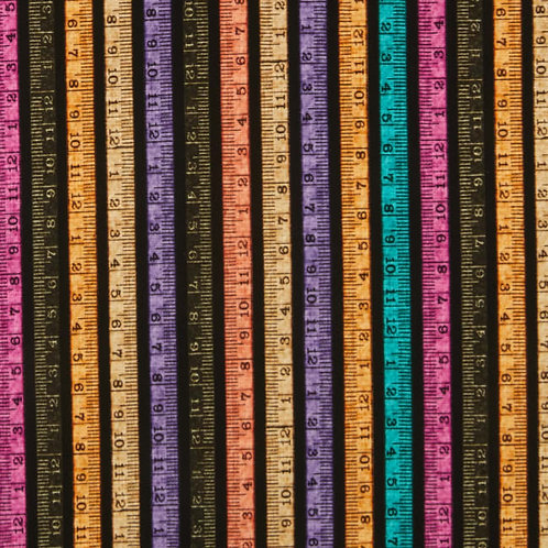 Tape Measure Stripe on Black | Tailor Made Collection | QT Fabrics